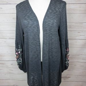 Maurices Women`s Grey Cardigan Size L Embroidered